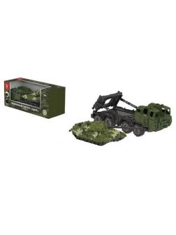 Машинка НОРДПЛАСТ Тягач военный Щит с танком (камуфляж)