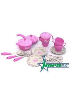 Barbie. Набор кухонной и чайной посудки (21 предмет в сетке) 11х22х22 см.