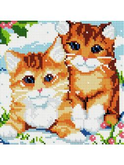 Набор для творчества Белоснежка алмазная мозайка Рыжие котята 20 на 20 см