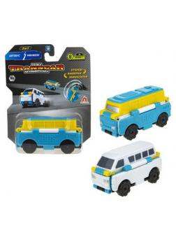 Машинка-трансформер 1TOY Transcar Автовывернушка 2в1 Автобус  Минивэн 8 см