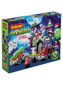Конструктор Bauer Monster blocks Большой дом с привидениями, пушкой, машиной, 3-мя охотниками
