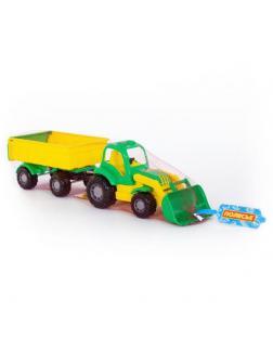 Трактор с прицепом 1 и ковшом Крепыш