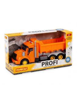 Машинка инерционная ПОЛЕСЬЕ PROFI Самосвал оранжевый, со светом и звуком (в коробке)