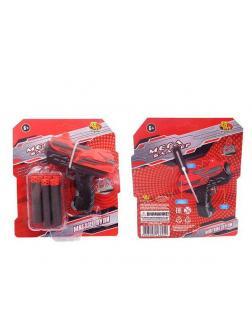 Мегабластер Бластер красно-черный с мягкими пулями 6 шт PT-01057 / ABtoys