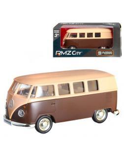 Машинка металлическая Uni-Fortune RMZ City 1:32 Автобус инерционный Volkswagen Type 2 (T1) Transporter, цвет матовый бежевый с коричневым, 16,5*7,5*7