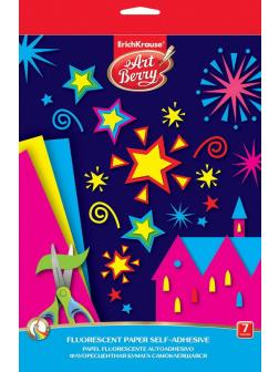 Бумага флуоресцентная мелованная самоклеящаяся ArtBerry В5, 7 листов, 7 цветов