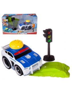 Машинка ABtoys АвтоСити с кнопкой запуска, блоком-препятствием, светофором, на батарейках, полиция синяя