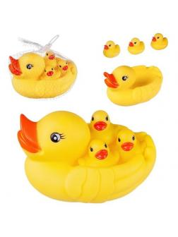 Игрушка для ванной Abtoys Веселое купание. Уточка резиновая с тремя утятами, в сетке