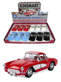 Машинка металлическая Kinsmart 1:34 «1957 Chevrolet Corvette» KT5316D инерционная / Красный