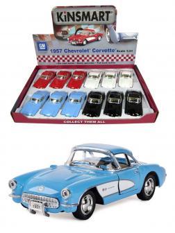 Машинка металлическая Kinsmart 1:34 «1957 Chevrolet Corvette» KT5316D инерционная / Голубой