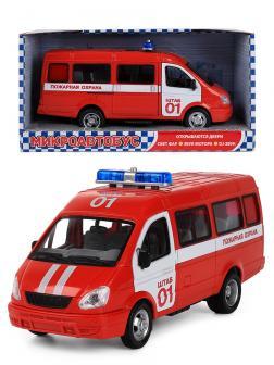 Машинка инерционная Play Smart 1:27 «ГАЗель 3221 Пожарная охрана» 20 см. 9098-A Автопарк, свет и звук