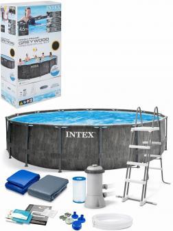 Круглый каркасный бассейн Intex «GreyWood Prism Frame» 26742 457х122 см., фильтр-насос, лестница, подстилка, тент