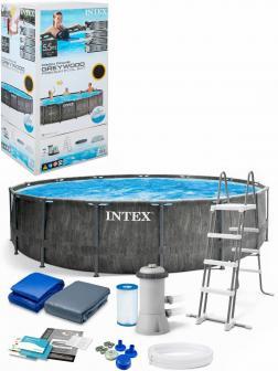 Круглый каркасный бассейн Intex «GreyWood Prism Frame» 26744, 549 х 122 см., фильтр-насос, лестница, подстилка, тент