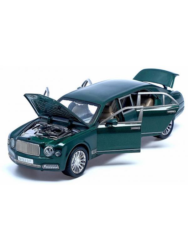 Машинка металлическая XLG 1:24 «Bentley Mulsanne Grand Limousine» M929F 21 см. инерционная, свет, звук / Зеленый