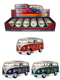 Металлическая машинка Kinsmart 1:24 «1962 Volkswagen Classical Bus (С принтом)» KT7005DF / Микс