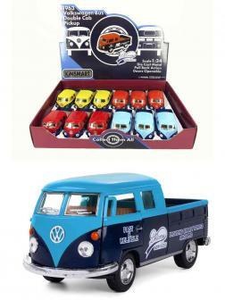Металлическая машинка Kinsmart 1:34 «1963 Volkswagen Bus Double Cab Pickup (Delivery)» KT5396D инерционная / Голубой