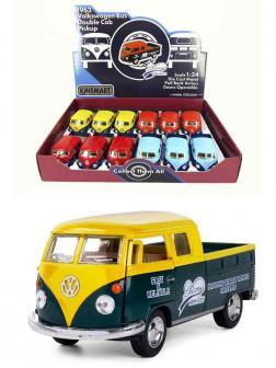 Металлическая машинка Kinsmart 1:34 «1963 Volkswagen Bus Double Cab Pickup (Delivery)» KT5396D инерционная / Желтый