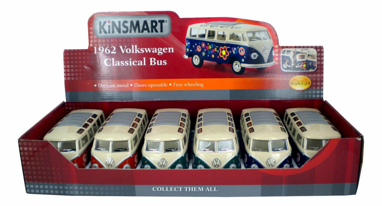 Металлическая машинка Kinsmart 1:24 «1962 Volkswagen Classical Bus (С принтом)» KT7005DF / Красный