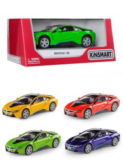 Металлическая машинка Kinsmart 1:36 «BMW i8» KT5379WA инерционная в коробке / Микс