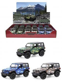 Металлическая машинка Kinsmart 1:34 «2018 Jeep Wrangler Camo Edition (Жесткий верх)» KT5420DB, инерционный / Микс