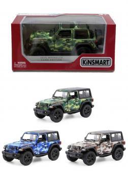 Металлическая машинка Kinsmart 1:34 «2018 Jeep Wrangler Camo Edition (Жесткий верх)» KT5420WB, инерционный в коробке / Микс