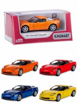 Машинка металлическая Kinsmart 1:36 «2007 Chevrolet Corvette Z06» KT5320W инерционная в коробке / Микс