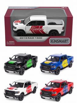 Металлическая машинка Kinsmart 1:46 «2019 Dodge RAM 1500 Livery Edition» KT5413WF, инерционная в коробке / Микс