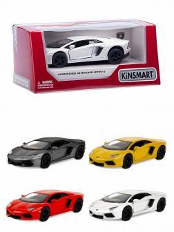 Металлическая машинка Kinsmart 1:38 «Lamborghini Aventador LP 700-4» KT5355W, инерционная в коробке / Микс