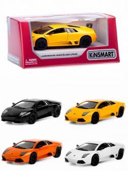 Машинка металлическая Kinsmart 1:36 «Lamborghini Murcielago LP640» KT5317W инерционная в коробке / Микс