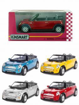 Металлическая машинка Kinsmart 1:28 «Mini Cooper S Convertible» KT5089W инерционная в коробке / Микс