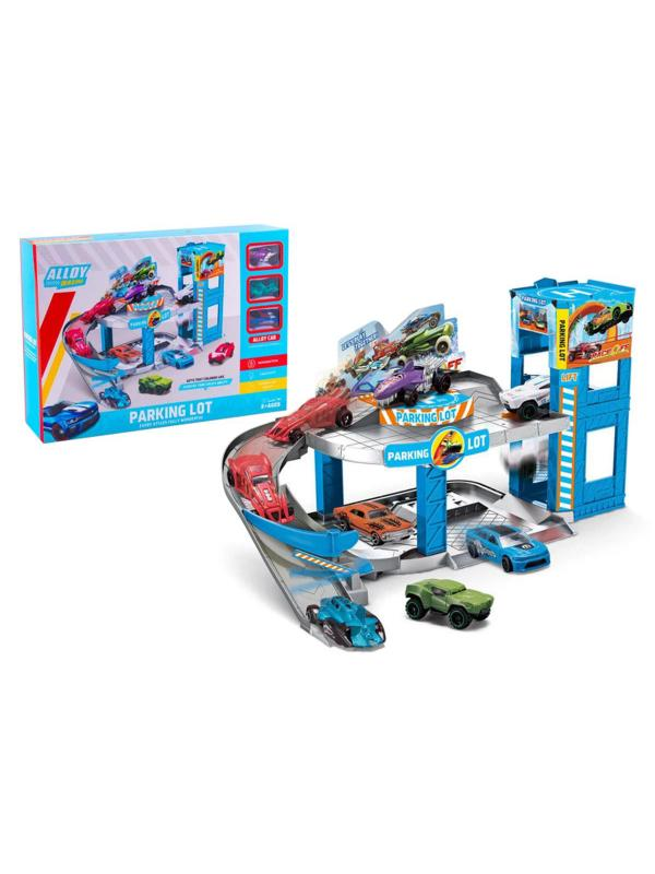 Игровой набор «Двухуровневая парковка» с горкой-спуском, 3 машинки