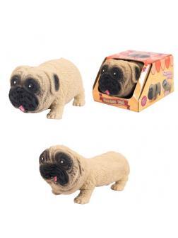 Игрушка-антистресс. Тянучка собака мопс 10 см в дисплее в индивидуальной коробочке