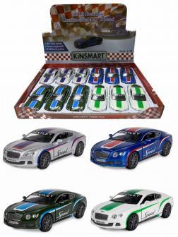Металлическая машинка Kinsmart 1:38 «2012 Bentley Continental GT Speed с принтом» KT5369DF, инерционная / Микс