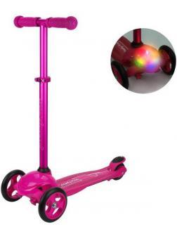 Самокат Moby Kids Lights пурпурный, управление наклоном, светится платформа, колесо 120*24 мм PU