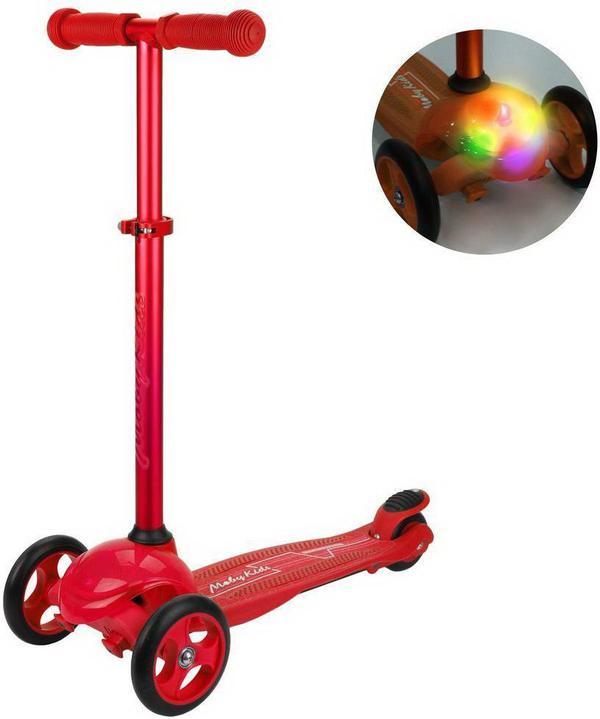 Самокат Moby kids красный, управление наклоном, светится платформа, колесо 120*24 мм PU