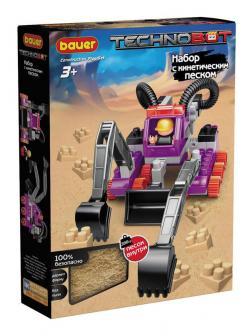 Конструктор Bauer Technobot с кинетическим песком, роботом и пилотом фиолетовый, серый, черный