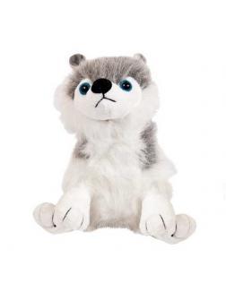 Собака серая с белым, 18 см