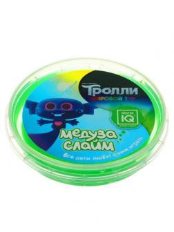 Слайм Master IQ Медуза Тролли в шайбе, зеленый, готовый 75 гр
