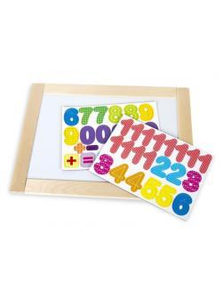 Доска двухсторонняя, обучающая, магнитно-маркерно-меловая Веселые цифры , 36,5см х 26,5см, магнитные цифры и знаки, 45 шт, неокрашенные