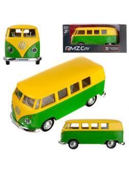 Машинка металлическая Uni-Fortune RMZ City 1:32 Автобус инерционный Volkswagen Type 2 (T1) Transporter, цвет желтыйй с зеленым, 16,5*7,5*7 см