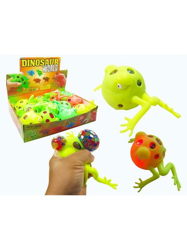 Игрушка-антистресс Junfa Dinosaur World Мялка Лягушка с разноцветными шариками , со световыми эффектами, 12 шт. в дисплее