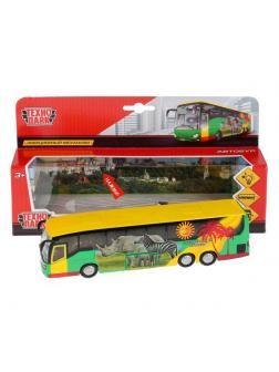 Машинка Технопарк Автобус металлический, инерционный, свет, звук, открываются двери