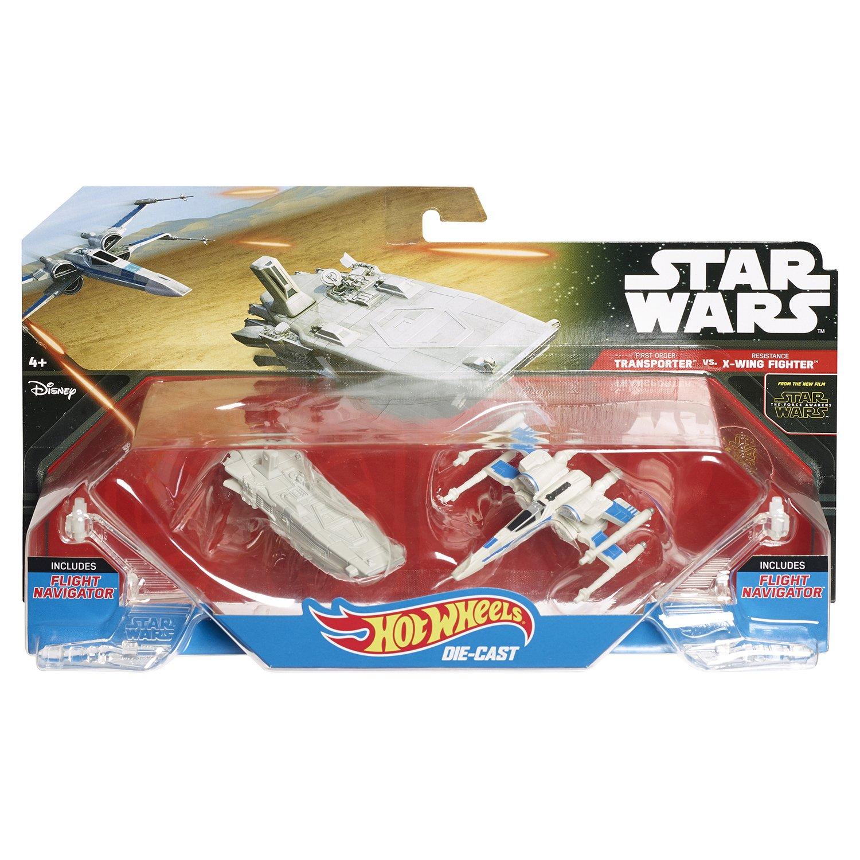Звездные корабли Hot Wheels Star Wars «First Order Transporter vs. Resistance X-Wing Fighter»
