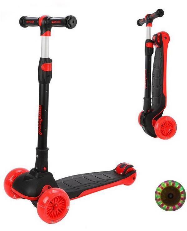 Самокат Moby Kids Runner складной с подсветкой, красный, широкая дека и колесо 120*40 мм PU