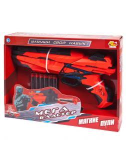 Мегабластер Бластер красно-черный с 6 мягкими пулями, в коробке PT-00938 / ABtoys