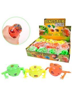 Игрушка-антистресс Junfa Dinosaur World Мялка Лягушка с разноцветными шариками , 12 шт. в дисплее
