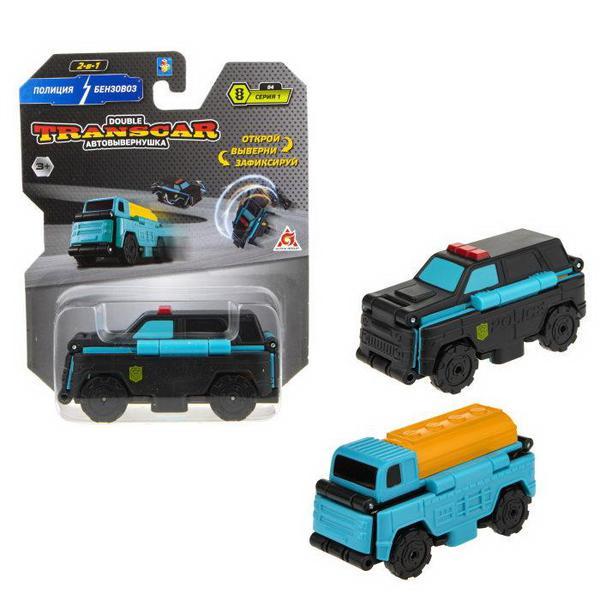 Машинка-трансформер 1TOY Transcar Double Автовывернушка Полиция  Бензовоз 8 см