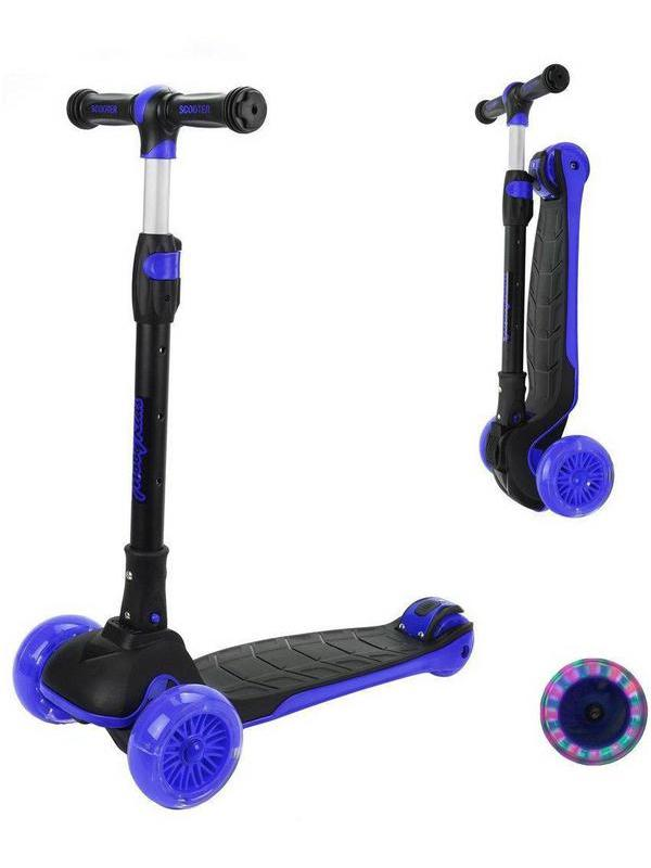 Самокат Moby Kids Runner складной с подсветкой, фиолетовый, широкая дека и колесо 120* 40 мм PU