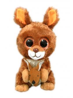 Кенгуру с детенышем, коричневый,15 см игрушка мягкая