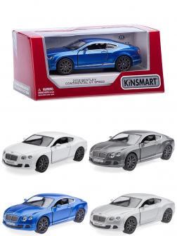 Металлическая машинка Kinsmart 1:38 «2012 Bentley Continental GT Speed» KT5369W, инерционная в коробке / Микс